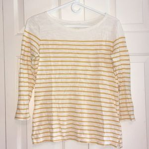 Old Navy White and Mustard Striped 3/4 Sleeve